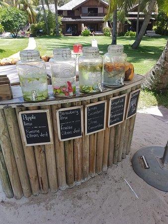 Wasserspender mit aromatisiertem Wasser im Garten beim Strand