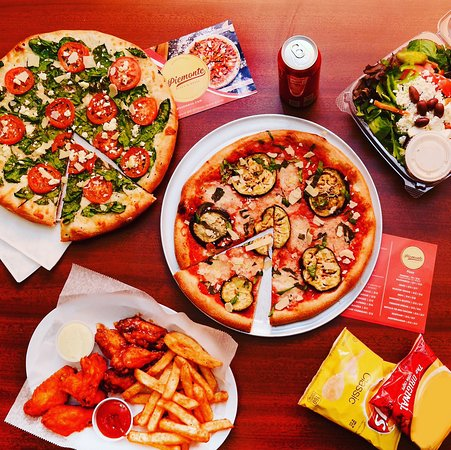 Pizza, wings, and salads
