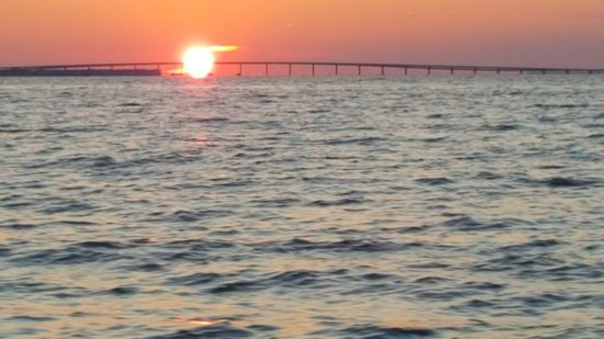 Sunset passing the Mid Bay Bridge 😎