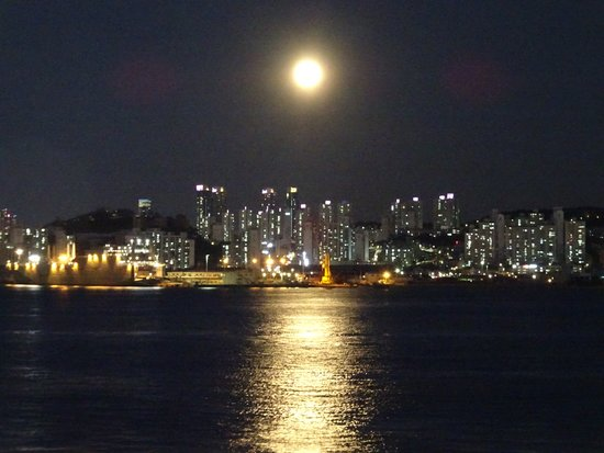 Diamond Princess: Nice shot of the moon and it's reflection off Busan'sxoastal waters.