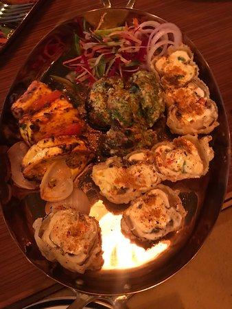Crispy mushrooms and daal makhni