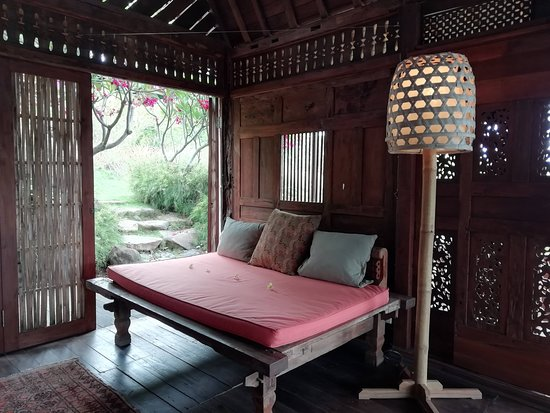 This is the daybed inside of Villa Basuki
