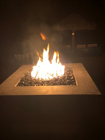 Fire pit by the piano bar.