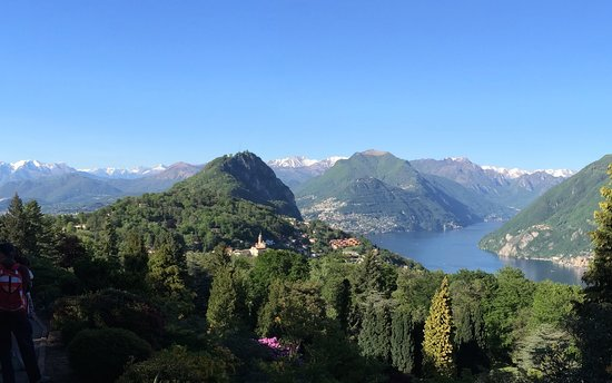 View to the north from Parco San Grato of Monte San Salvatore and the village of Carona