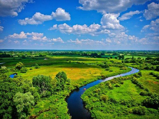 Slawatycze, โปแลนด์: Spływ Krzną. Widok z drona w okolicy Nepli