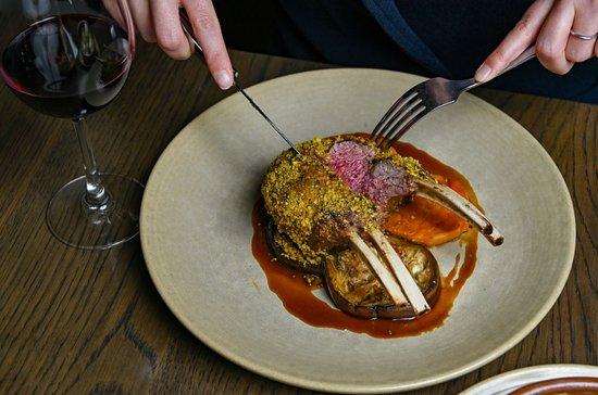 LAMB RACK // Pistachio crusted rack of lamb with roasted sweet potato and eggplant
