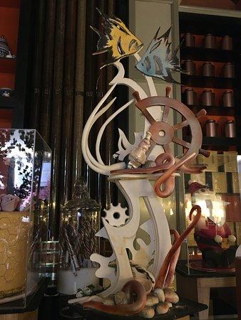 A chocolate sculpture in the tea shop.