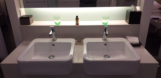 Full toiletries and his and hers basin