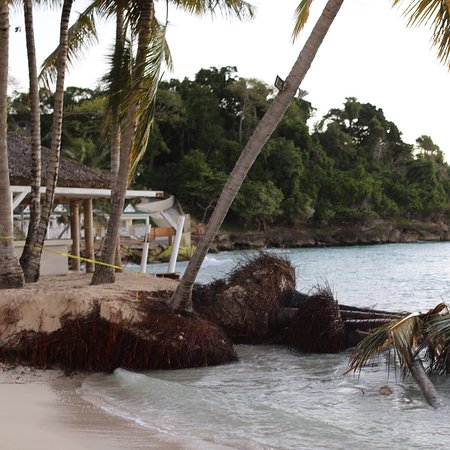 Hotel Beach and bar at Cayo levantado in Jan 2020
