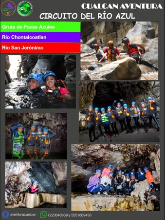 Cacahuamilpa, México: Circuito de Río Azul.  Viajaremos al centro de la tierra, adentrándonos en las cuevas y recorriendo ríos subterráneos, donde saltaremos en pozas, nadaremos, escalaremos, descenderemos, recorreremos pecho a tierra, haremos toboganes naturales y todo esto con la máxima seguridad y el equipo mejor calificado.  Fechas: •Pozas Azules: sábado 22 o domingo 23 de febrero. •Río Chonta: sábado 07 o domingo 08 de marzo. •Río San Jerónimo: sábado 21 o domingo 22 de marzo.