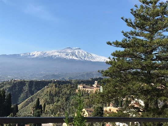 View of mount etna from the breakfast terrace