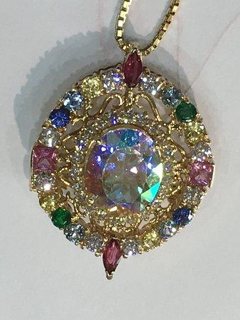 Custom made multi color stones pendant in 14k yellow gold.