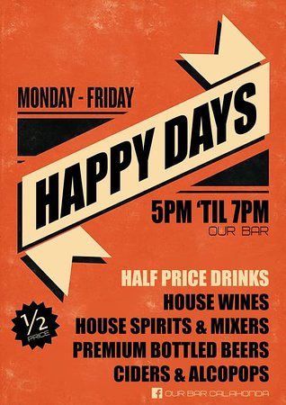 Happy Hours 5-7pm Monday to Friday!