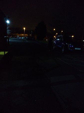 How dark car park was at dusk