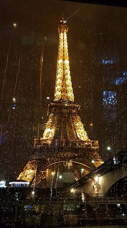 Bateaux Parisiens Seine River Gourmet Dinner & Sightseeing Cruise: View of Eiffel from the cruise in the rain