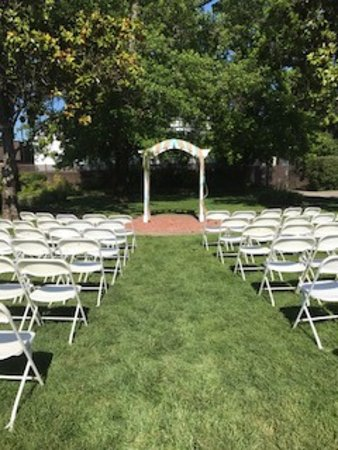 Redwood Valley, CA: Wedding Ceremony Set-Up, Outside in the garden