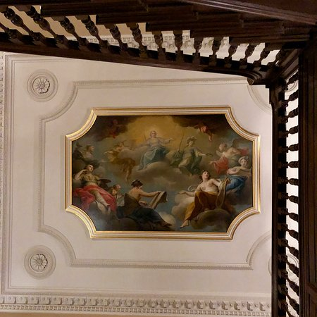 Dyrham Park, The Old Staircase, Mercury & Minerva presiding over the Arts by Andrea Casali