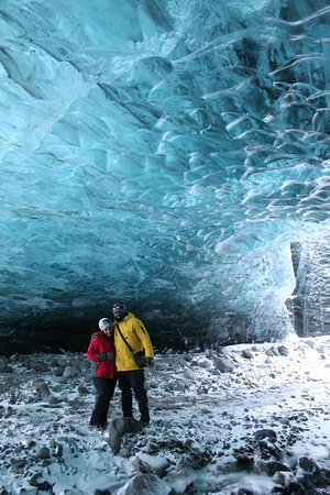 Crystal Ice Cave Adventure: My husband and I exploring the Crystal ice cave
