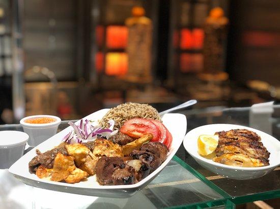 Mixed grill platter + Garlic Chicken wings