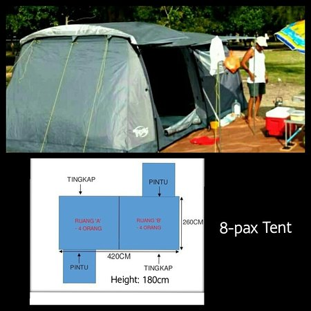 TENT RENTAL PER NIGHT  IS RM160 ( USUAL PRICE IS RM175 )   Family, An 7-8 adult family tent ready for reservation. Why need this tent. Is all inclusive af the campsite rent, toilet and other facilities. Currently the plug point for FAN and lamp only open at night. PLEASE NO ELECTRIC KETTELE OR RICE COOKER.