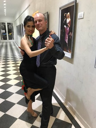 With my husband in the hallway of the famous Salon Canning Club where we danced at a milonga.