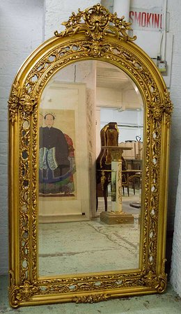 Tall Fine XL French Napoleon III Style Sphinx Mask Gilt Pier Glass Arched Mirror