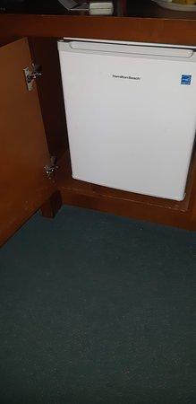 very small fridge, annoying door to open before opening the fridge