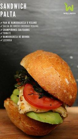 Avocado sandwich: avocado, grilled cheese o tofu, tomato, crispy quirquiña, olive oil, marraqueta (traditional bolivian bread)