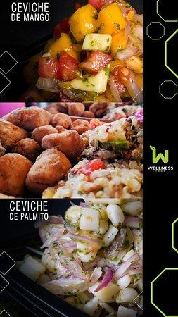 vegan mango ceviche // quinoa tabule with soy nuggets // vegan palmito (palm tree heart) ceviche