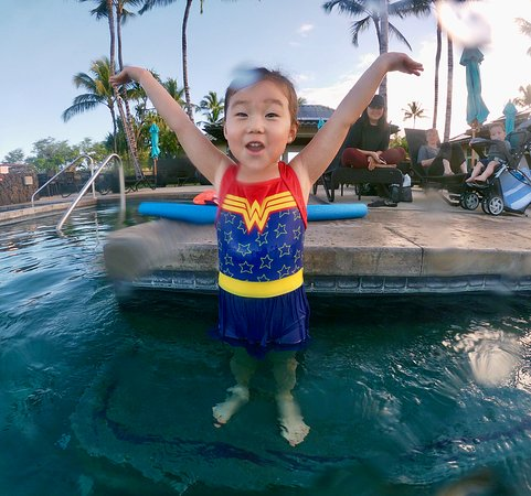 3 year old Wonder Woman took to the water like Wonder Woman takes to the air!