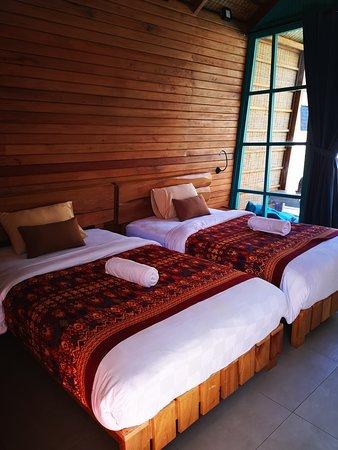 Gili Trawangan, Indonesia: Bungalow double twin beds Absolutevilla