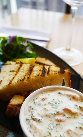 Starters | Cychwynol Potted Shrimp Dill, Chives, Crème Fraiche, Toasted Sour Dough Bread, Baby Herb Salad