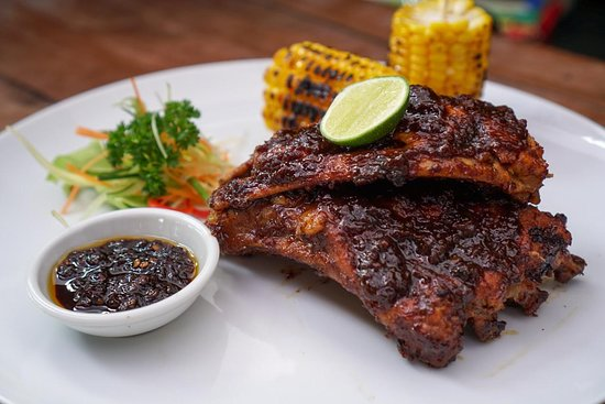 Our famous Pork Ribs and special, secret sauce !