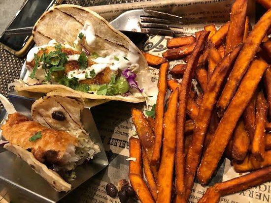 Fish Tacos w/sweet potato fries