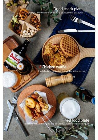 Dried snack plate - 150K Chikien waffle sandwich - 140K Fried food plate - 150K
