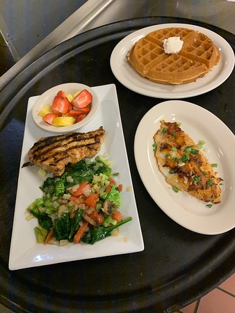 Healthy Choice with Grilled Chicken and Grilled Catfish and Waffle