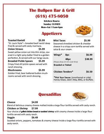 New Athens, IL: Menu page 1