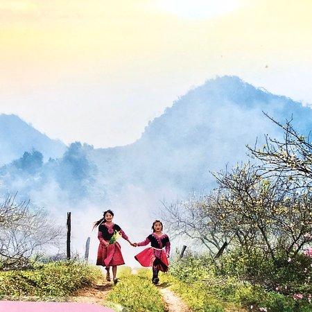 Le printemps arrive avec les enfants dans le nord Vietnam
