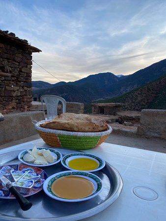 Atlas Mountain Valley Trekking - Ouirgane to Imlil 2 Days: amazing breakfast at the second village