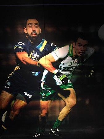 Australia v Ireland International Rules. Adam Goodes lays a tackle.