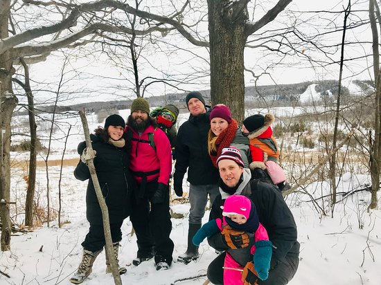 Our guests loving our private trail.  Views of Devils Glen private ski hill and our spring feed creeks.