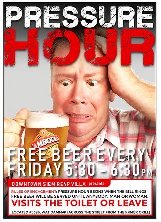 FREE DRAFT BEER FOR ONE HOUR!!! Are we insane? Yes, a bit, because if you are drinking the free beer, you may not leave the bar or visit the restroom. If you do, the free beer ends for EVERYONE! It is truly a PRESSURE HOUR!