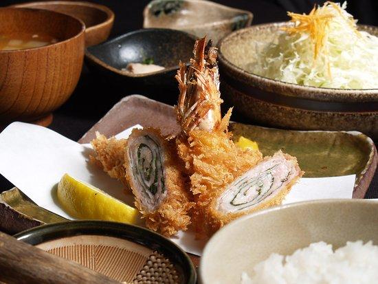 【ミックス3種定食】 ロースかつ、ヒレかつよりお選びください 黒豚とんかつ、海老フライ、大葉巻