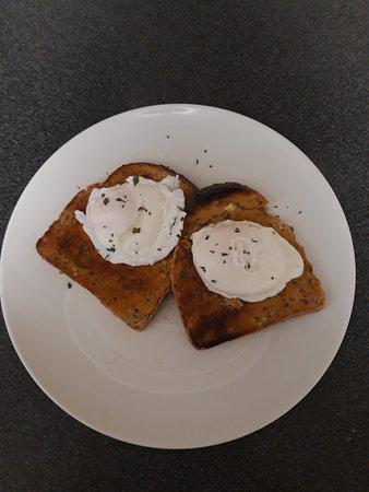 Poach eggs on toast