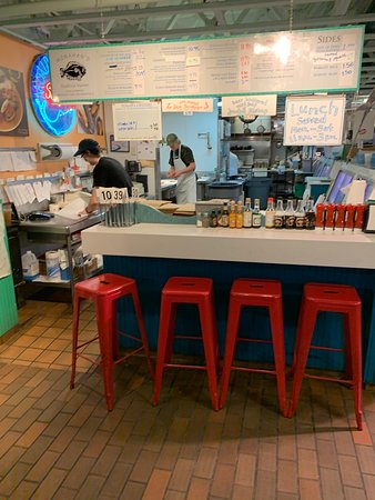 Four stools at the main counter (and three at the other end)