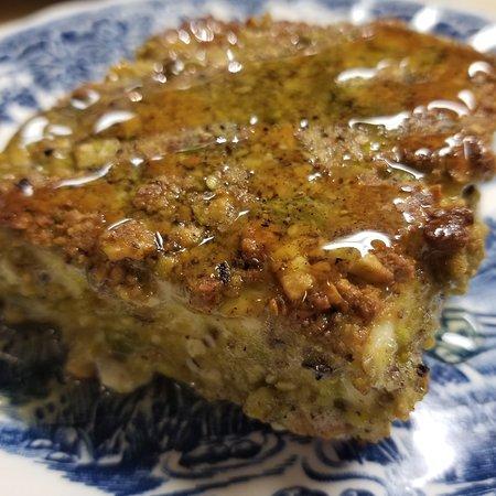 Feta Saganaki- pan seared feta with pistachios and Greek honey