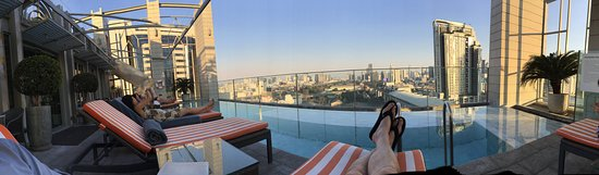 Panorama and view from pool on upper floor
