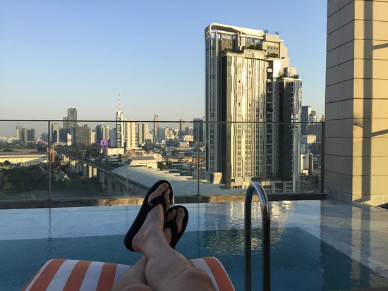 View from pool on upper floor