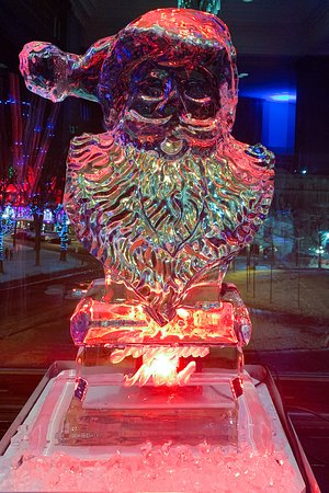 Ice sculpture at the Christmas dinner buffet