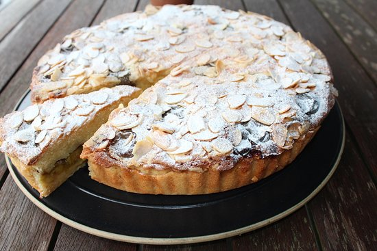 Almond frangipane tart with greengages